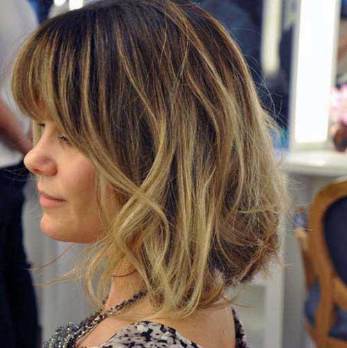 franjas iluminadas no cabelo curto