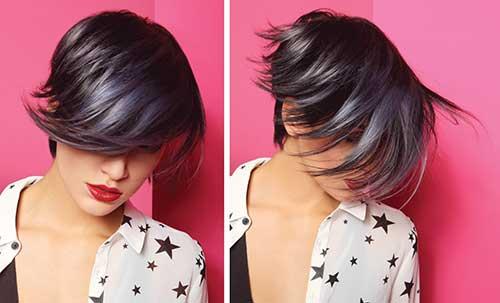 cabelo curto preto com iluminaçao prateada