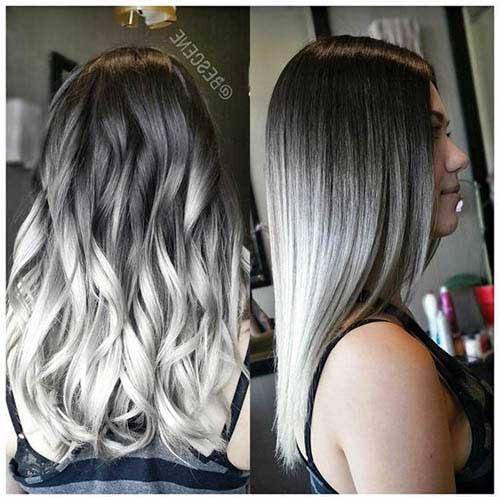 tons de loiro platinado acinzentado em cabelo longo