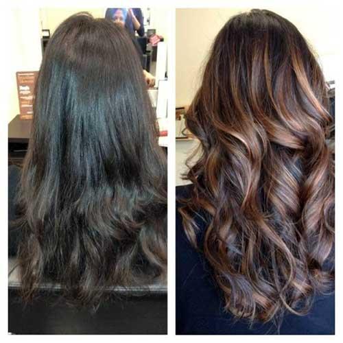 antes e depois de fazer cabelo castanho com mechas