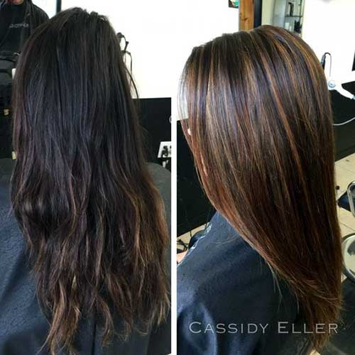 resultado antes e depois de mechas no cabelo castanho