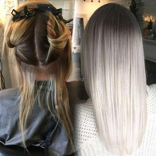 cabelos que mantiveram a raiz escura