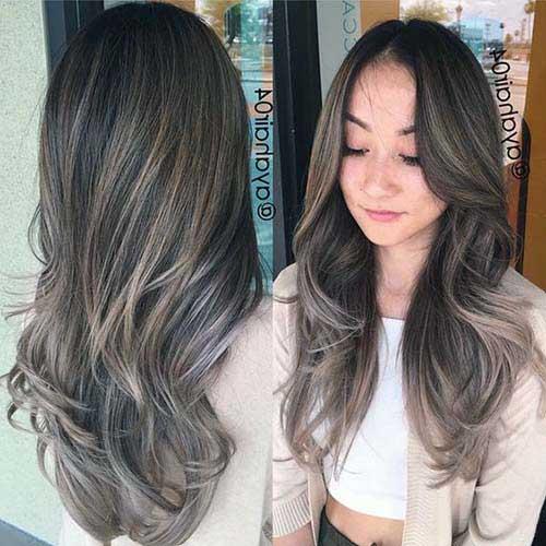 cabelos castanhos com mechas loiro cinza