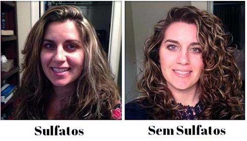 cabelos tratados com e sem sais
