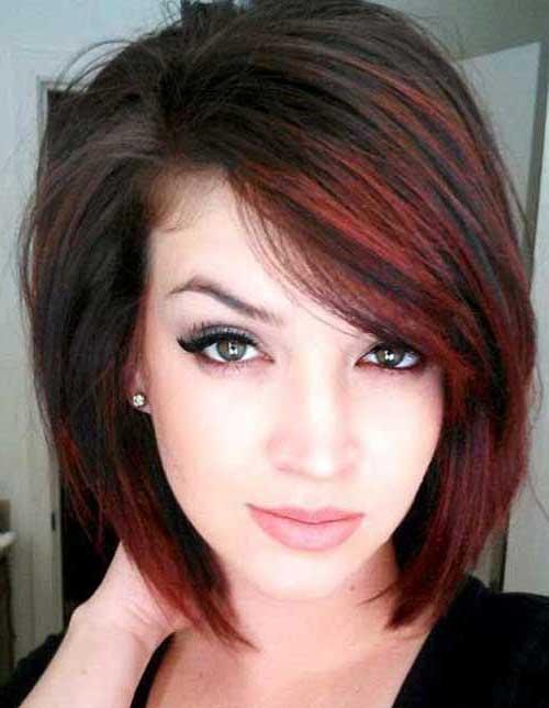 cabelo curto escuro com mechas ruivas