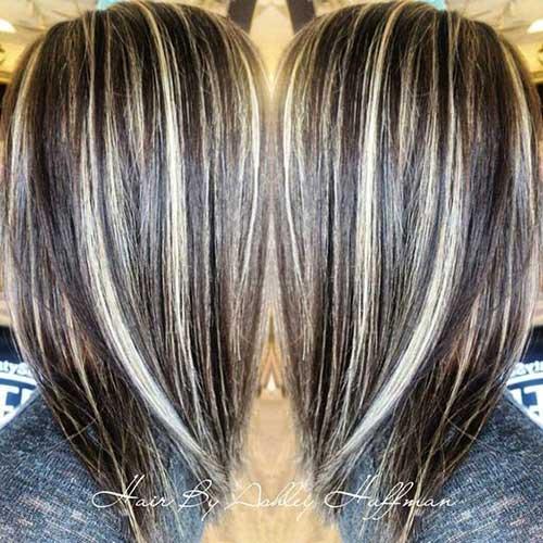 cabelos castanhos com luzes invertidas