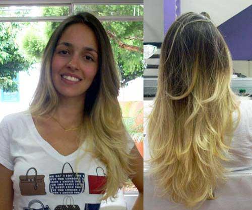cabelos em v loiro, liso e longo e estaqueado