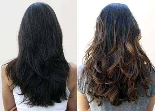 cabelo preto tingido com luzes californianas