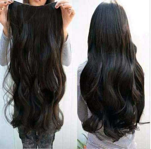 cabelo preto ondulado de aplique de 60 cm