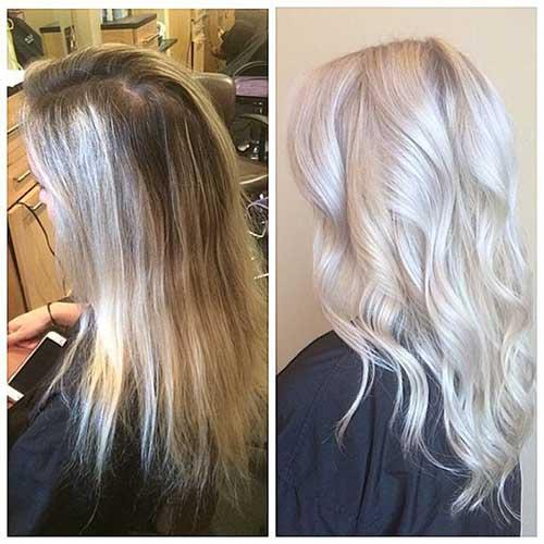 cabelos platinados especialmente feitos por profissional