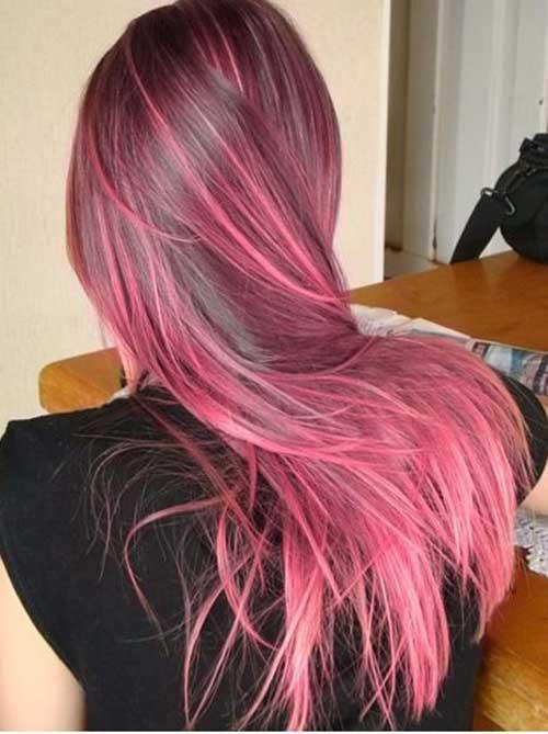 cabelo castanho e rosa