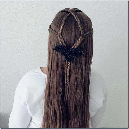 cabelo com morcego decorando