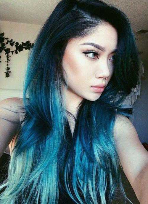 cabelos azuis em orientais