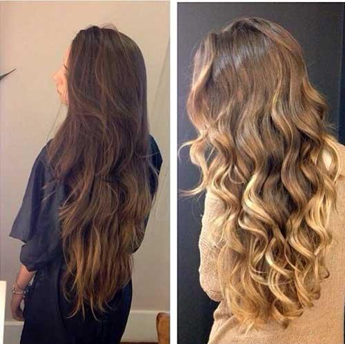 cabelos longos com luzes californianas coloridas