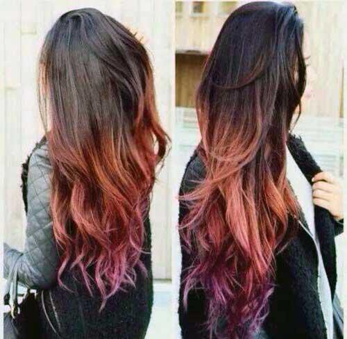 cabelo ondulado com ombre hair