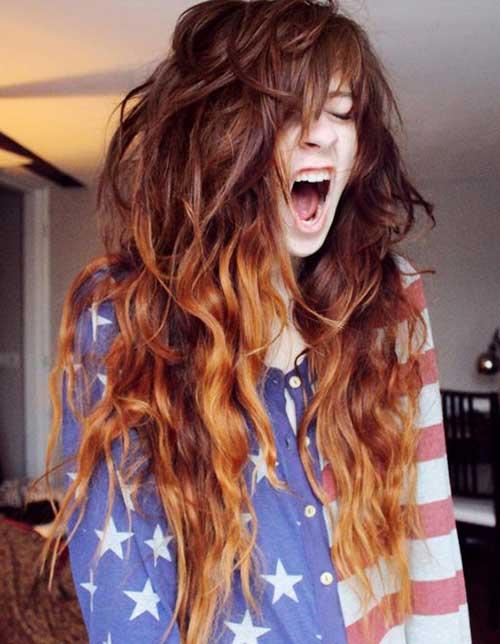cabelos com luzes ombre hair avermelhadas