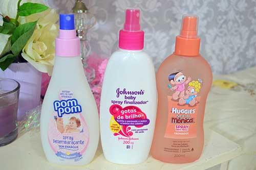 spray para finalizaçao de cabelo cacheado infantil