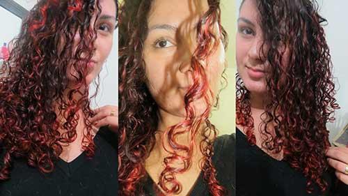 cabelo cacheado vermelho na ponta