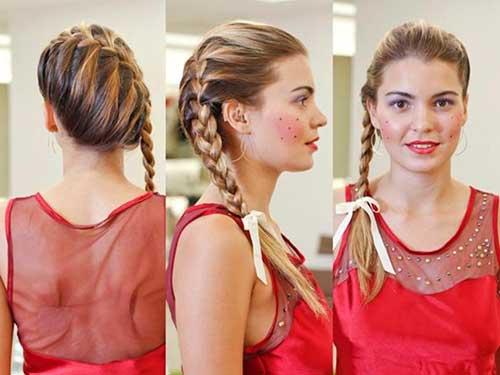 cabelos presos para festa junina com maquiagem bonita