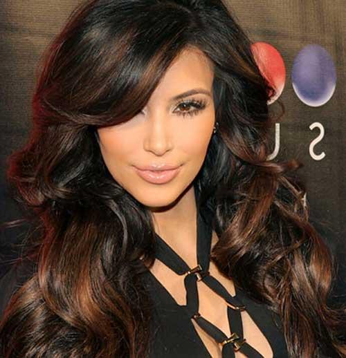 cabelo da kim com luzes chocolate