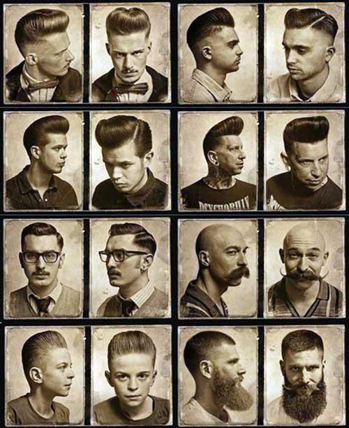 cabelos vintage masculinos varios tipos