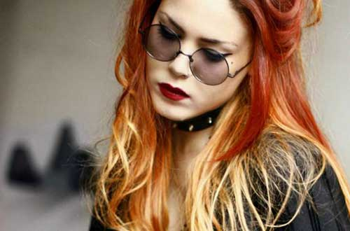 cabelo vermelho com balayage