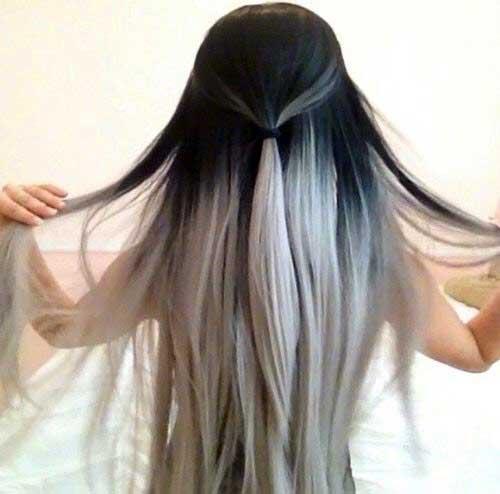 cabelo preto com ombre platinado