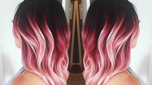 mechas rosa e loiras em morena de cabelo escuro