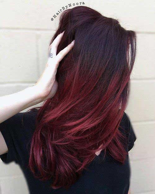 cabelo preto de morena com ombre vermelho