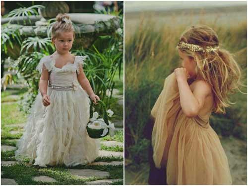 opção para daminhas de casamento boho de 2 anos