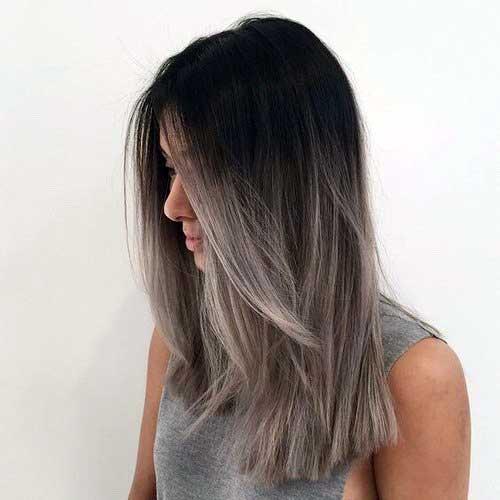 cabelo platinado cinza e liso