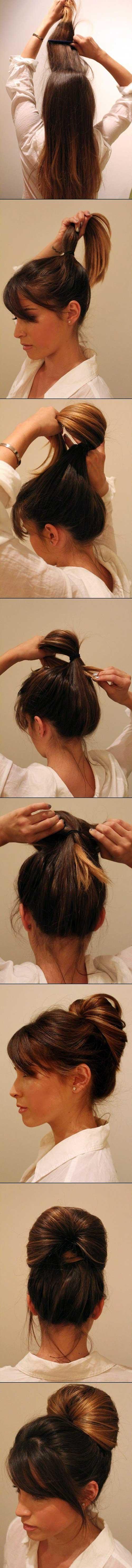 passos para fazer penteado coque bola