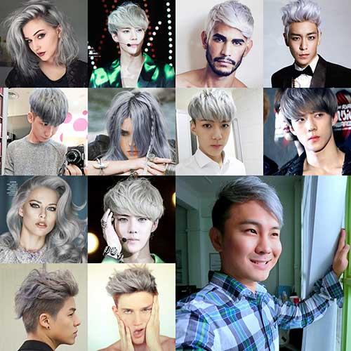 cabelos loiros claros acinzentados em homens e mulheres