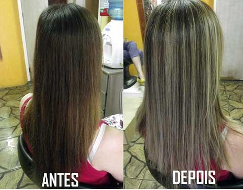 resultados de mechas platinadas em cabelos escuros e lisos