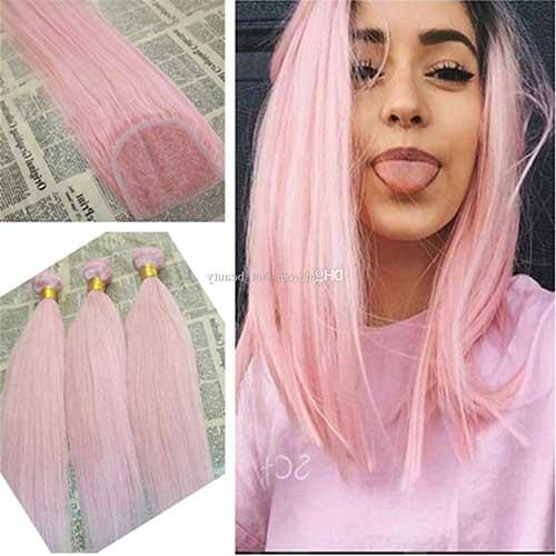 cabelo rosa sintetico para mega hair