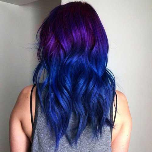 cabelo azul e colorido