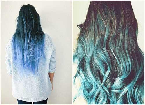 azul nas pontas do cabelo