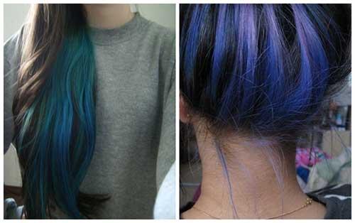 cabelos azuis por baixo