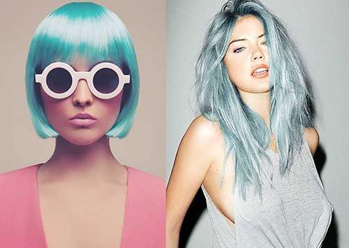 cabelo azul que brilha
