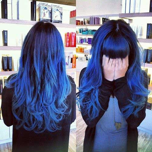 cabelo azul e roxo de ondas