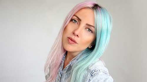 cabelo de sereia azul e rosa