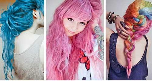 madeixas azuis e rosas cores fantasiadas