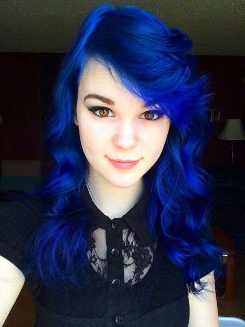 cabelo azul royal repicado