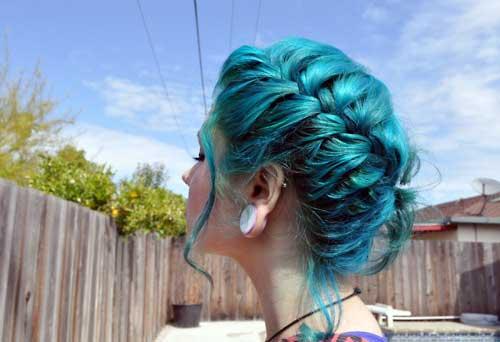 cabelo azul turquesa e tiffany