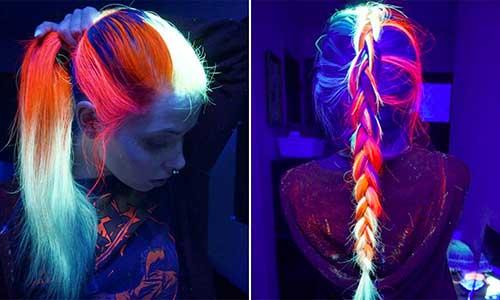 cabelo azul brilha no escuro