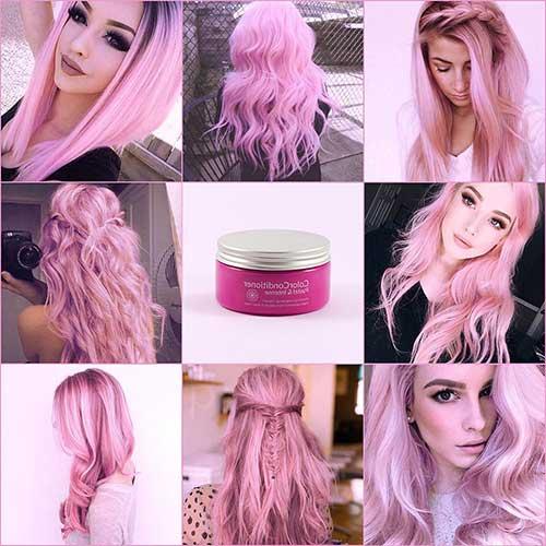 cabelo rosa candy de varios tipos