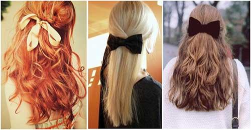 penteado com laço de cabelo