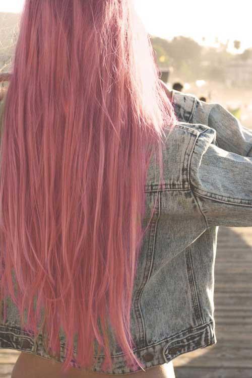cabelo rosa da moda longo e liso