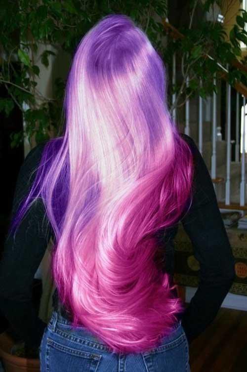 cabelos rosas e roxos
