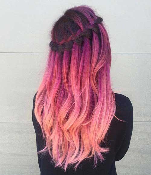 cabelo em tom rosa pintado degrade
